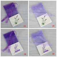 Modern Heminredning Lila Bomull Organza Lavendel Sachet DIY Dry Flower Sachet Garderob Mögel Bevis Presentväska Partihandel