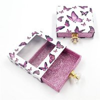 False Eyelashes Butterfly Pattern Design Square Packaging Box Crystal Handle Lash Storage Holder Case With Transparent Tray