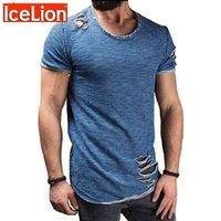 Icelion Summer Algodão T Shirt Homens Moda Furo de Manga Curta T-shirt Sólida Slim Fit O Pescoço Tops Casual Tshirt Dropshipping 210329