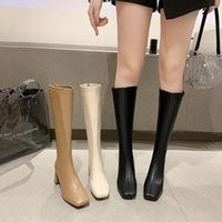 Boots Zipper Shoes Women High Heels Boots-Women Stiletto Over-the-Knee 2021 Ladies White Rubber Autumn Fabric Basic Solid Rome S