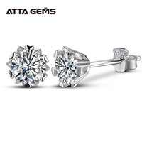 Attagens Classic 100% 925 Sterling Silver 0.5ct Moissanite Gemstone Anniversary Brincos de Casamento Fine Jewelry Presente Atacado 210323