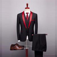 Men's Suits & Blazers 3 Pieces Men Custom Made Elegant Wedding One Button Tuxedos Peaked Lapel Blazer Business Coat+Pant+Vest