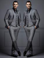 Grey Suits For Men Fashion Groom Suit Wedding Tuxedos Buy Again My Orders Traje de tres piezas para hombres FATO de Mens (Jacket+Vest+Pants)
