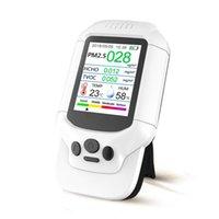핸드 헬드 HCHO TOVC 미터 PM2.5 온도 습도 분석기 휴대용 공기 품질 모니터 가스 감지기 LCD 디지털 대형 스크린 서너 촬영 센서 테스터