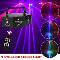 9 Oog RGB Laser Verlichting Disco DJ Lamp DMX Afstandsbediening Strobe Stage Licht Halloween Christmas Bar Party LED Lasers Projector Home Decor