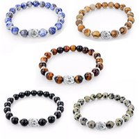 Beaded, Strands Turkish Jewelry Buddha Armband Silver Men Chakra Bracelets & Bangles Natural Stone Beaded Bracelet For Women Tiger Beads Gif