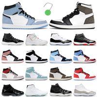 Nike Air Jordan 11 Retro de baloncesto Universidad Azul Oscuro Mocha humo Gris 25 aniversario Concord Cap y entrenadores de vestir zapatillas deportivas con caja verde Tag