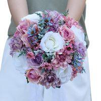 Buquê de flores de casamento para noiva nupcial dama de honra vintage seda artificial rosa decoração casa confissão de festa presente