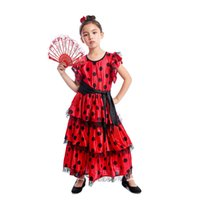 World National Spanish Girl Traditional Flamenco Dancer Outfit Kids Halloween Cosplay Costume for Carnival Party Role Play Dress