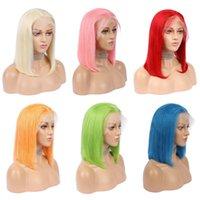 13x4 الرباط أمامي شعر الإنسان الباروكات البرازيلي مستقيم قصيرة بوتس شقراء 613 الوردي الأرجواني الأصفر الأخضر رمادي أحمر أزرق نبيذ الألوان