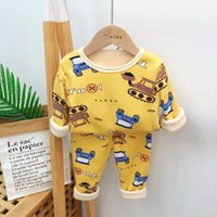 Kids Pajamas Winter Children Warm Underwear Set Sleepwear Kids Clothes Sets Thickened Cartoon Girl Christmas Plush Pyjama Boys