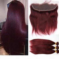 Peruvian Burgundy Straight Human Hair Weaves With Lace Frontal Ear To Ear Closure With Bundles Color 99j Hair Extensions 4Pcs Lot