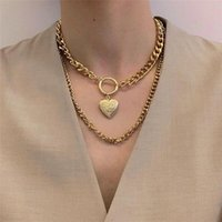 Pendant Necklaces Punk Heart Shell Moon Lock Coin For Women VintageMultilevel Chain Necklace Jewelry Wedding Party Gift