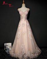 Partykleider Jark TOZR Sonderanfertigte Formal Kleid V-Ausschnitt Perlen Spitze Tüll Rosa Abend China Online Shop Abiye GECE ELBISSI