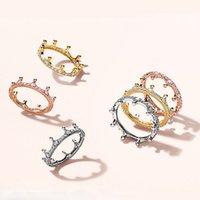 18K Rose gold Yellow Gold plated Enchanted Crown RING for Pandora 925 Sterling Silver CZ Diamond Women Wedding Ring Set 2869 Q2