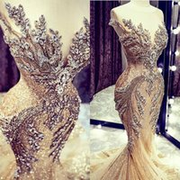 Luxury Champagne Evening Dresses Mermaid Scoop Neck Illusion Sleeveless 2021 Crystals Beaded Sparkly Sequins Custom Made Plus Size Prom Party Gown vestidos