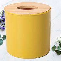 Boîtier de serviette ronde de forme 1PC Couvercle en bois amovible Boîte de tissu Boîte de toilette Rouleau de toilette Organisateur de stockage de papier pour la voiture offi Boîtes Nappins