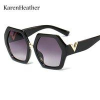 Мода V Нерегулярные квадратные рамки Солнцезащитные очки Ретро Черный Градиент Для Женщин Мужчины Роскошный Дизайнерский Дизайнер Негабаритный Гласс