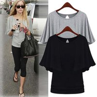 Dresses Large summer Casual fat mm Cape bat short sleeve T-shirt women's thin knitting top