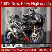 Moto-Karosserie für Aprilia Mille RV60 RSV1000 R RR 2004 2005 2006 BODY 11NO.85 RSV-1000 RSV1000RR RSV1000R 04-06 RSV 1000 R 1000R 1000RR 04 05 06 Verkleidungsset schwarz silber