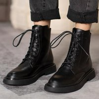 Boots Women's Genuine Leather Lace-up Autumn Winter Warm Plush Short Ankle Round Toe Casual Punks Motorcycle Shoes