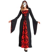 Casual Dresses Halloween Cosplay Costume Flare Sleeve Square Neck Party For Women Black Red Bandage Hooded Retro Print Dress