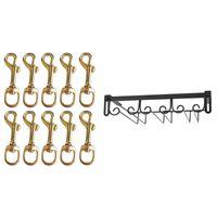 Hooks & Rails 10Pcs Metal Swivel Clasps - Brass Flag Pole Snap Clip & 1 Pcs Nail-Free Wine Glass Rack Cabinet Hanging High Stand