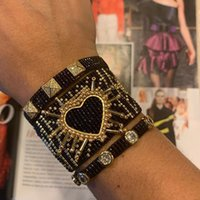 Rttooas اليدوية القلب أساور موهير مودا 2020 المرأة الأزياء برشام سحر أساور ميوكي مطرز المجوهرات