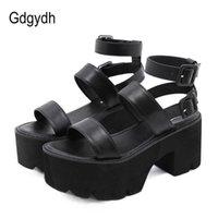 GDGYDH وصول الصيف المرأة منصة الصنادل سميكة أسفل الكاحل حزام عالية الكعب المفتوحة تو الأحذية القوطية الأسود 210608