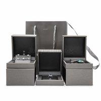 Caixa de presente de luxo de jóias de alta qualidade atacado PU couro jóias pulseira pulseira embalagem colar caixas y0924