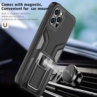 Premium Braket Çalışma Manyetik Araba Tutucu ile Çalışma Cep Telefonu Kılıfları iphone 12 11 Pro Max XR XS 8 7 Samsung S21 S20 Note20 Artı Ultra Şok Emici Köşeleri Kapak