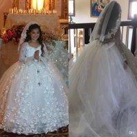 結婚式のパーティーのためのクリスタルボールガウンの花の女の子の服 - リトル花嫁の長袖レースアップリケ子供ガウンスイープ列車