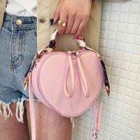 2021 spring new fashion trend women's peach heart small personality silk scarf handbag One Shoulder Messenger Bag NWRL