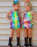 Girls Jumpsuit Summer Baby Shorts Kids Pants Cotton Braces One Piece Clothing Romper Casual Lace Princess Dress Children Clothes B6301