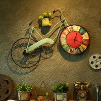 Wall Clocks Retro Bike Clock Mural Hanging Living Room Decor Pendant Vintage Watch Ornaments Personality Home Decoration