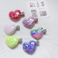 Hair Accessories 24pcs Glitter Gradient Color Love Heart Hairpins Cartoon Sequin Barrettes Princess Headwear Girls Boutique HairAccessories
