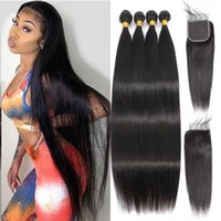 Human Hair Bulks 36 Inch Straight Brazilian Weave Bundles With Closure 4x4 Remy HD Transparent 13x4 Lace Frontal