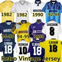 Tottenham 1990 1998 1991 1982 Retrô Camisas de futebol Klinsmann Gascoigne Anderton Sheringham Ginola Bale Ferdinand Centenário 92 93 95 95 homens uniformes modrídeos