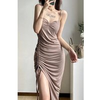 Casual Dresses Real S 2021 Women's Backless Loose Sexy Drawstring Folds Irregular Even Holiday Solid Color Dress