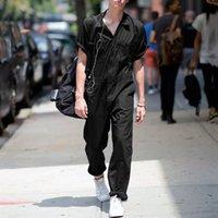 2021 летних мужчин комбинезон грузов комбинезон сплошного цвета тонкий дышащий длинный брюк костюм комбинированные инструменты уличные одежды