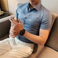 Men's Dress Shirts 2021Men High-grade Pure Cotton Short Sleeve Shirts Male Slim Fit Silky Wash And Wear Casual Solid Color Shirt Tops