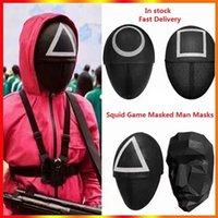 Squid Jogo Mascarado Homem Máscaras Redonda Squire Triângulo Máscara Acessórios Delicate Delicate Halloween Masquerade Festa Costume Adereços em estoque