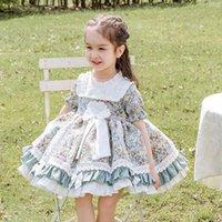 Vestidos de niña Cekcya Verano Vestido floral español 2021 Niños Turquía Lolita Princess Ball vestido de baby girls Fiesta de cumpleaños XS039