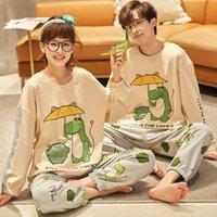 Осенние хлопчатобумажные пары пижамы женские спящие одежды набор теплый с длинным рукавом Kawaii костюм для милый маленький динозавр мягкие мужские ночные белья