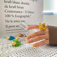 Anéis de cluster Anel de coração acrílico para mulheres moda menina Natal presente de dia das bruxas dedo-ring resina jóias estéticas vintage boho saco de escritório boho