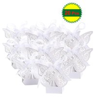 Gift Wrap 20PCS Cut Romantic DIY Candy Boxes Wedding Decoration Birthday Party Favor Bridal Banquet With Ribbons (White)
