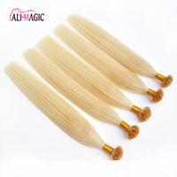 High Quality Pre-bonded Italian Keratin Nail U Tip Human Hair Extension Blonde 613 Color Black Brown 20color 100g 100strands Brazilian Indian Peruvian Malaysian