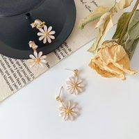 Stud High Grade Crystal Daisy Pendant Earrings For Women Girls Fashion Temperament Flower Charms Ear Jewelry Party Gifts