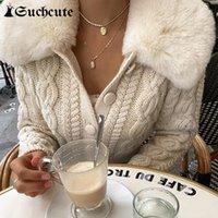 Chaquetas de mujer Streetwear Fashion Woman Cardigan Suéteres con cuello de ajuste de piel estilo coreano estilo casual y2k suéter recortado BT5