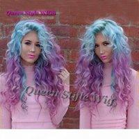 Seksi Unicorn Renkli Mermaid Stil Peruk Sentetik Pastel Buz Mavi Ombre Mor Renk Derin Kıvırcık Dalga Saç Yok Dantel Peruk Dantel Ön Peruk